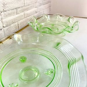 Pair Footed Vintage Vaseline Glass Bowls Scalloped